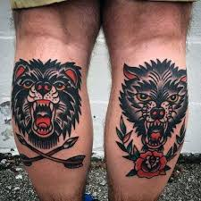 Guys Calf - guys back of leg calf traditional of and wolf tatts