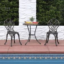 outdoor ls for patio sunnydaze 3 piece outdoor cast aluminum patio bistro set color