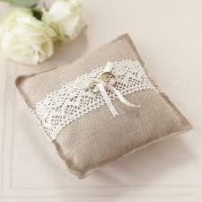 wedding pillow rings vintage rustic wedding hessian ring cushion by
