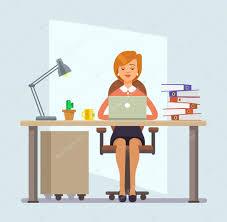 bureau dessin employé de bureau de femme illustration de dessin animé plane