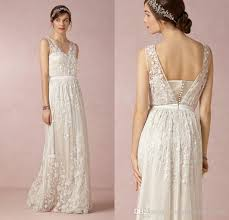 bohemian wedding dress discount 3d floral appliques lace bohemian wedding dresses v neck