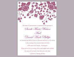 Marriage Invitation Sample Diy Wedding Invitation Template Editable Word File Instant