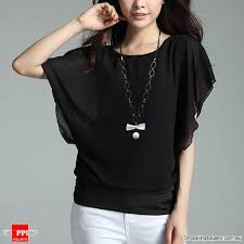 chiffon blouses for womens flouncing batwing sleeve crew neck ol chiffon blouse tops