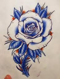 blue rose tattoo design with stem best tattoo designs