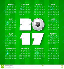 calendar for 2017 year with soccer ball on bright green background