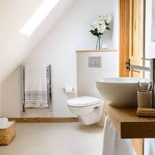 Modern Vessel Sink Attic Bathroom With Vessel Sink And Corner Wall Mounted Toilet