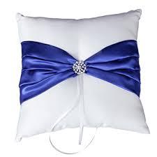 royal blue ribbon cool88 wedding ceremony white satin ring bearer pillow cushion