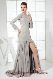 long sleeve high neck gray evening dresses on sale on