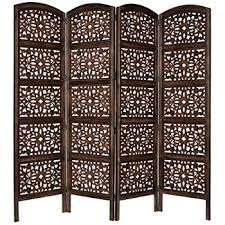 wooden room dividers amazon com rajasthan antique brown 4 panel handcrafted wood room