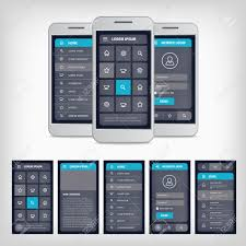 vector set of modern flat design template mobile user interface