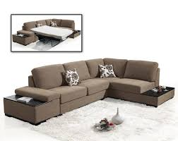 White Fur Cushions Brown Suede Fabric Sectional Sleeper Sofa With End Table Added