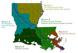 louisiana geographical map rflp five state regions