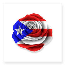 puerto rican rose flag on white sticker puerto ricans and flags