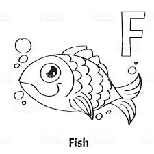 vector alphabet letter f coloring page fish stock vector art