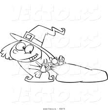 vector of a happy cartoon halloween witch trying to carry a