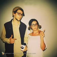 hipster han solo and princess leia couple costume homemade