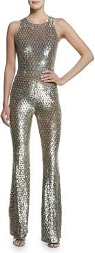 sequined jumpsuit michael kors michl kors collection sequined mesh bell bottom