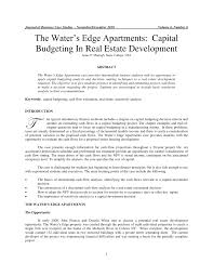 the water u0027s edge apartments capital budgeting in real estate