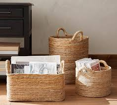 baskets for home decor abaca baskets pottery barn