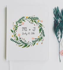 wedding guest book custom initial floral wreath wedding guest book stationery