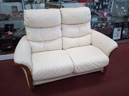 troc canapé canapé 2 places relax cuir écru occasion la cabane du troc