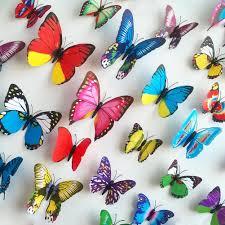 cute 20pcs 10cm 3d artificial butterfly luminous fridge magnet