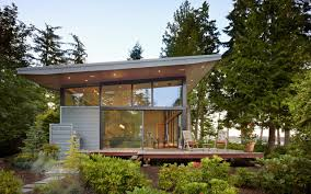 Lakefront Home Designs by Secluded Wooded Modern Home In Port Ludlow With Expansive Water