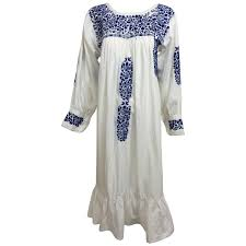 1960s blue and white embroidered oaxacan mexican wedding dress