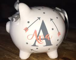 customized piggy bank piggy bank etsy