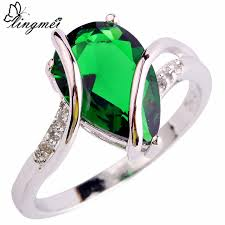 green fashion rings images Lingmei wholesale fashion absorbing green cz silver color ring jpg