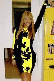 black yellow leaf print colorblock bodycon midi dress 022812