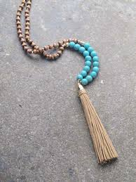 tassel necklace images Trend long turquoise bead tassel necklace bobbles and lace jpg