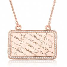 Map Rose 14k Rose Gold Rectangle Map Necklace With Diamond Border Maps By