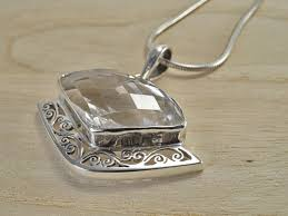 crystal rock pendant necklace images Clear quartz crystal rock sterling silver pendant necklace fancy jpg