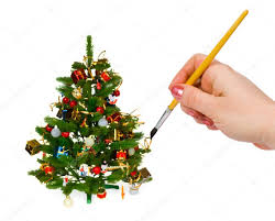 hand with paintbrush and christmas tree u2014 stock photo violin