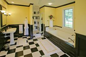 Black And White Tile Floor Bathroom Gorgeous Yellow Bathroom Décor With Yellow Walls And
