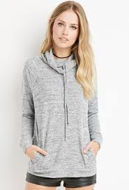 forever 21 heathered drawstring sweater in gray lyst