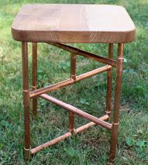 catalpa red oak u0026 copper pipe side table home furniture urban