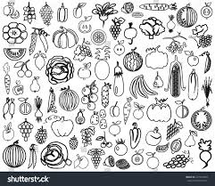 image black line contours fruit vegetables stock vector 227019694