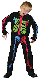 Boys Skeleton Halloween Costume Childrens Nu Rave Neon Skeleton Halloween Fancy Dress Costume Boy