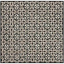 Square Indoor Outdoor Rugs Square Hooked Black Outdoor Rugs Rugs The Home Depot