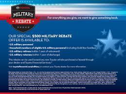 toyota company information military rebate program piercey toyota