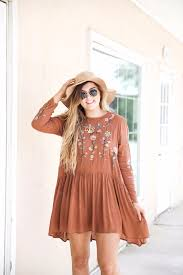embroidered fall dress ootd daily dose charm