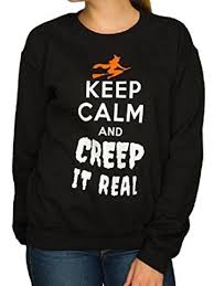 happy halloween junior women black keep calm creep it real
