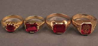 red stones rings images Lot 485 lot of 4 gold rings w red stones jpg