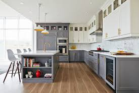 how to trim cabinet above refrigerator white top cabinets gray bottom cabinets contemporary