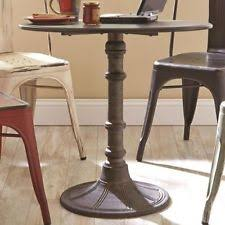 Industrial Pedestal Table Oswego Distressed Black Round Metal Industrial Bistro Table By
