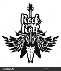 electric guitar and skull wings with rock and roll stock vector