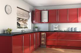 outstanding l shaped mahogany wood kitchen island in red gloss l shaped mahogany wood kitchen island in red gloss melamine finish that resists scratches with eased edge profiles black marble granite countertop