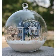 christmas gift idea diy miniature house model glass globe ornament